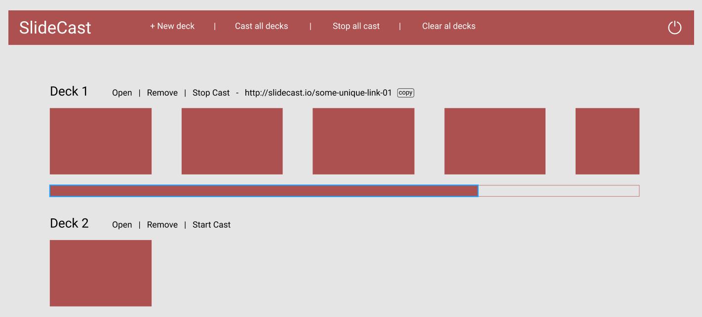 SlideCast home page mockup